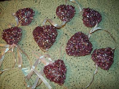 New Valentine Heart Shaped Garland Pink Sequins & Beads 3-D