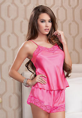 iCollection Lingerie 8912 Satin and lace cami and short set