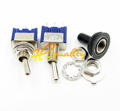 125V 6A ON/OFF/ON 3 Position SPDT Toggle Switch w Waterproof Cover Cap