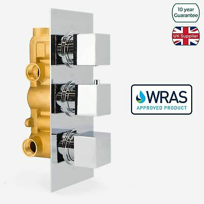 3 Way Square Concealed Thermostatic Bar Shower Mixer Valve Chrome Solid Brass