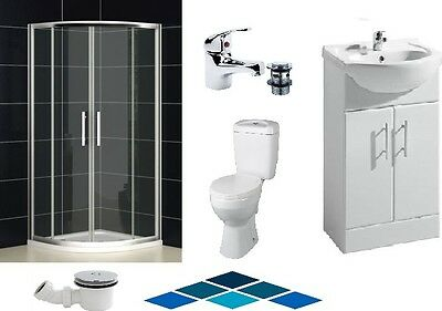 900mm Quadrant Shower Suite Toilet Sink Basin Cabinet Vanity Stone Resin Tray