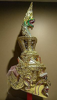 HUGE Thailand krob kroo ceremony hermit khon mask. REAL GOLD LEAF. Naga