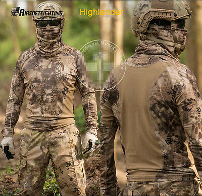 Outdoor Tactical Camouflage Long Sleeve T-Shirt Hunting Highlander M-XXL A