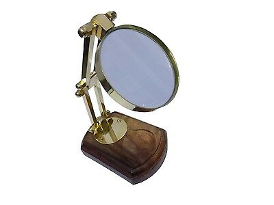 New Antique Vintage Style Brass Magnifying Glass with Wooden Stand Desk Top Gift