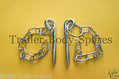 FREE UK Post - 2 x 10mm dia. x 108mm Cotter Pin & Chain Trailers Horse Box