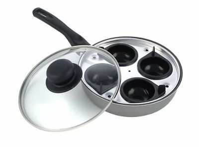 Sapphire 20 cm 4 Hole Cup Egg Poacher Pan and Cups + Glass Lid, Dishwasher Safe