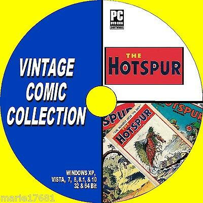 GREAT COLLECTION OF OVER 120 UK VINTAGE HOTSPUR COMICS 30s 40s ISSUES NEW PC DVD