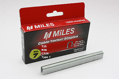 1000 x Cable Staples to Fit For Rapid R36 Arrow T25 Tacwise CT60 Stanley Type 7