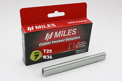 1000 x 12mm Cable Staples For Arrow T25 Rapid R36 Tacwise CT60 Stanley Type 7