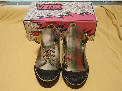 Nos Vintage 1990 Vans Blucher W/heavy Rubber/olive Country Flannel Wmns 9.5 Sk8