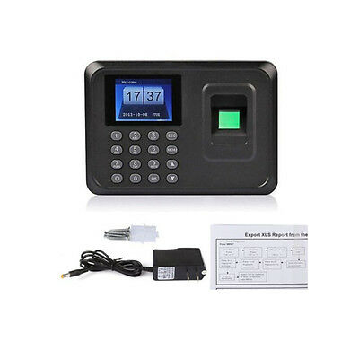 "2.4"" LCD USB Fingerprint Time Attendance Clocks Employee Payroll Recorder Punch"