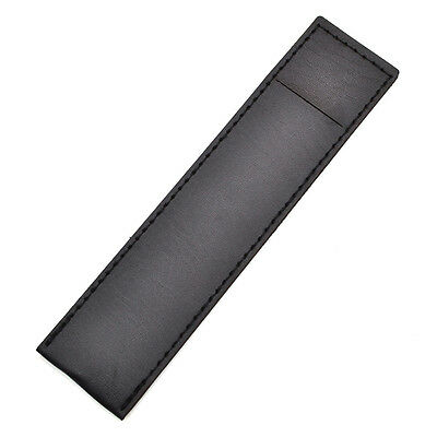 Black Leather Pen Case Bag Pencil Pouch Holder Storage Office School Stationery