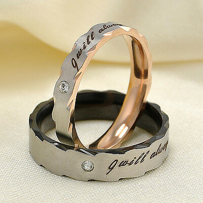 Shining Rhinestone Titanium Steel Promise Ring Couple Wedding Band Jewelry Gift