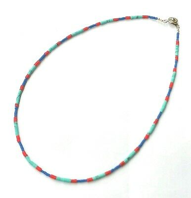 """Afghan Natural Turquoise, Lapis & Coral Tiny Seed Beads Necklace Handmade 16"""""""
