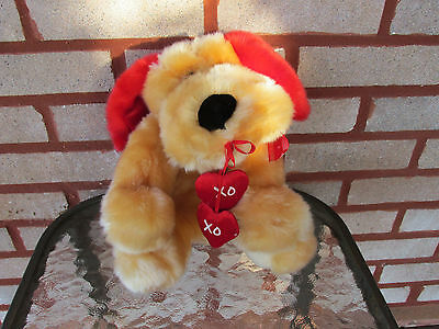 Dandee Plush 10'' Puppy Holding Hearts with XXX's & OOO's