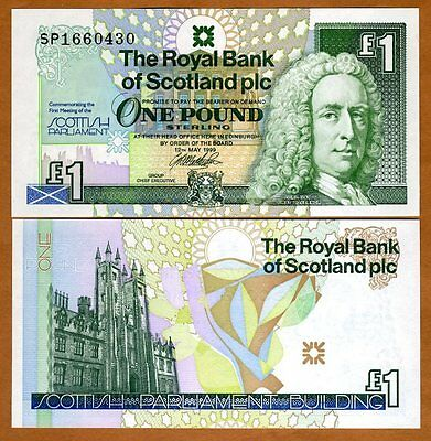 Scotland Royal Bank 1 pound 1999 P-360, UNC   Commemorative, Scottish Parliament