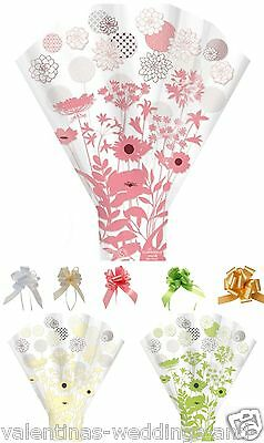 Floral Cellophane Bouquet Sleeve Cone Flower Sweet Cupcake Wrap Bow