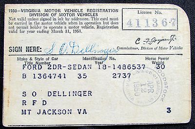 Documents paper collectibles for Virginia department of motor vehicle