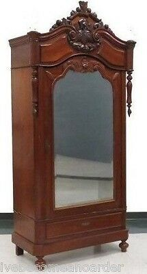 Antique Carved Continental Single Mirrored Door Armoire Wardrobe