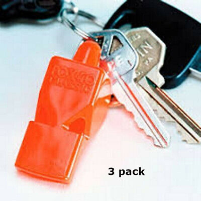 3 PACK = $4.49 per Fox 40 Classic Whistle (115dB-pealess) -Boating Safety ORANGE