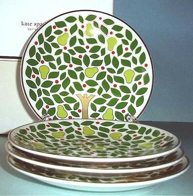 Kate Spade Pear Tree Point Tidbit Party SET/4 Holiday Plate(s) Lenox New Boxed
