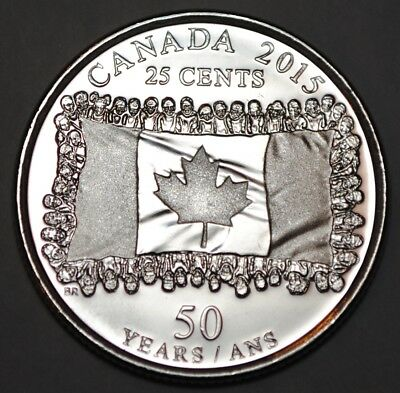 Canada 2015 25 cents Flag UNC from roll - BU Canadian Quarter
