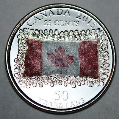 Canada 2015 25 cents Coloured Flag UNC from roll - BU Canadian Quarter