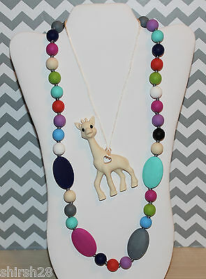 Silicone Baby Teether Teething Necklace Nursing Jewelry Rainbow Beads & Giraffe