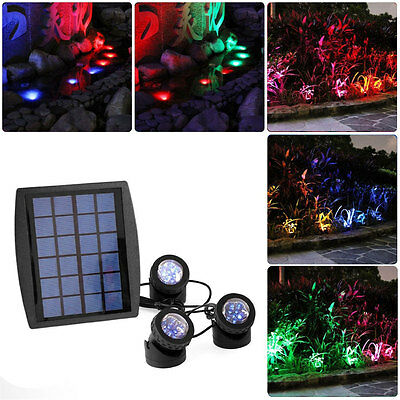 New 18LED SCC Solar Powered Super Bright 3 Submersible Lamps RGB Color Changing