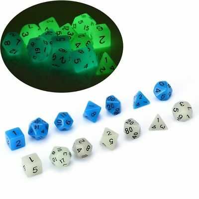 7pcs/set TRPG Game Dungeons & Dragons D4-D20 Multi Sides Dice Luminous Color