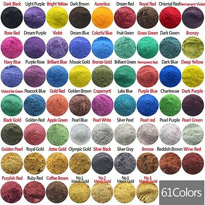 Cosmetic Grade Natural Mica Pigment Powder Dye Soap Candle Colorant 61 Color
