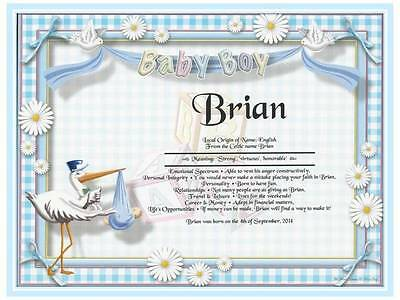 New Baby Boy Art Deco Personalized First Name Meaning Gift