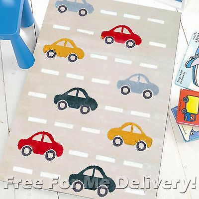 LALA KIDS CARS BEIGE THICK COTTON FLOOR RUG SIZE (XS) 70x140cm **FREE DELIVERY**