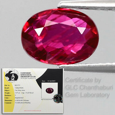 Rare! Certified 1.47ct 8.5x6mm Oval Natural Unheated Rich Red Ruby, Mozambique