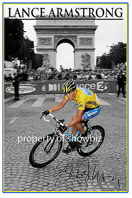 * Lance Armstrong * Huge Signed Poster Of The Tour De France 7 Time Winner *