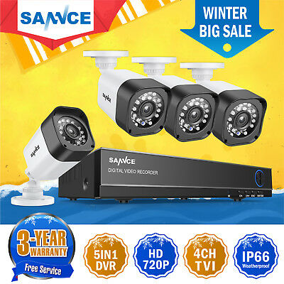 SANNCE 4CH HD DVR Outdoor Night Vision 720P 1500TVL CCTV Security Camera System