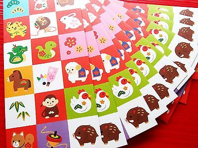 12X 2017 Animals Chinese New Year AngPow Money Envelope Red Packet + Stickers -A