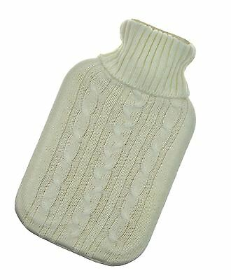 2L Hot Water Bottle Knitted Cover Cream Gift Large Warm Sweater Thermotherapy