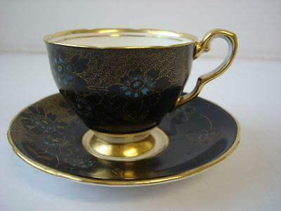 Royal Stafford Black With Blue & Gold Floral Gilt Cabinet Cup And Saucer