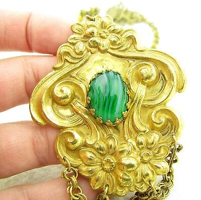 Vintage Signed Miriam Haskell Repousse Glass Cabochon Necklace