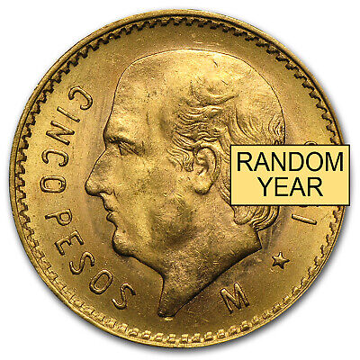 Mexico Gold 5 Pesos AGW .1205 (Random Year) - SKU #1046