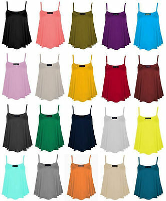 591f4d599c9b9 New Womens Ladies Plain Sleeveless Cami Swing Vest Top Strappy Flared Plus  Size