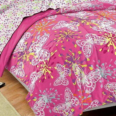 Dream Factory Butterfly Party Soft Microfiber Girls Comforter Set, Pink, Full