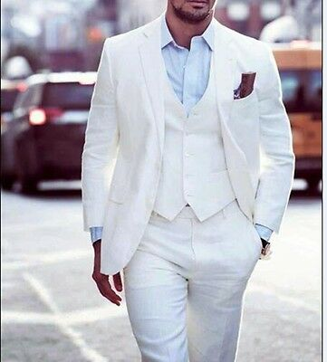 White 3 Pieces Mens Formal Occasion Tuxedos Bespoke Groom Best Man Party suits