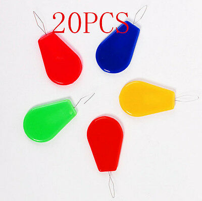 20PCS Plastic Bow Wire Needle Threader Hand Machine Sewing Stitch Insertion Tool