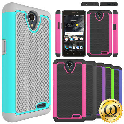 For ZTE AVID Plus Z828 Case, Tough Rugged Dual Layer Shockproof Protective Cover