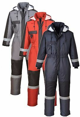 Portwest S585 grey, navy or red padded waterproof winter coverall/boilersuit