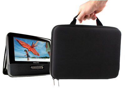 "Briefcase Carry Case For Philips PD7022 Portable DVD Player DivX 7"" In Black EVA"