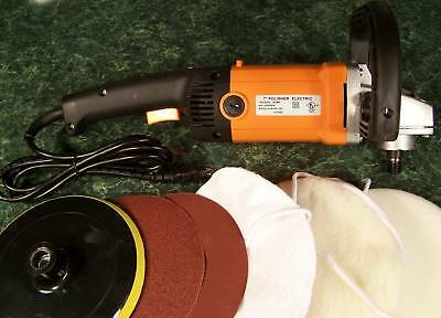 "7"" Electric Angle POLISHER SANDER TOOL NEW Sand polish Variable Speed w/ Bonnet"