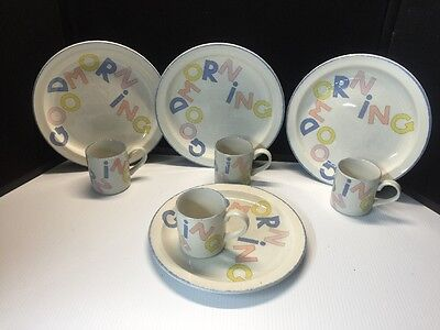 Stonehenge Stoneware Midwinter Set Of 4 Cups And 4 Plates. Good Morning!